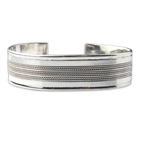 Sterling Silver Cuff Bracelets Handmade in India Girls Present Ideas Dia Adjustable: 6.35 cm