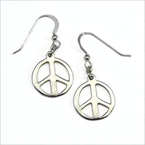 Small Peace Symbol silver dipped earrings