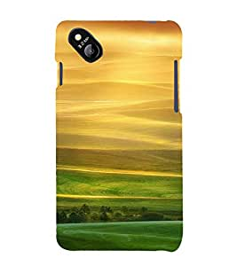 PrintVisa Yellow And Green Scenic Design 3D Hard Polycarbonate Designer Back Case Cover for Micromax Bolt D303