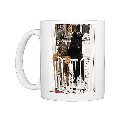 Photo Mug Of German Shepherd Dog - A Briard Puppy Standing At Inside Baby / Dog Gate front-905079
