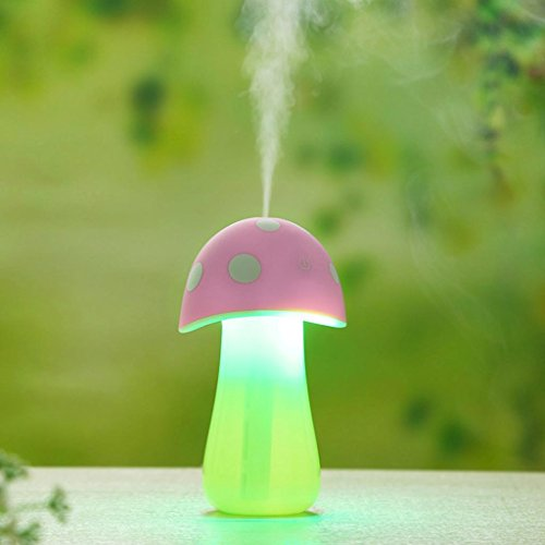 Gillberry Home Aroma LED Humidifier Mushroom Air Diffuser Purifier Atomizer New (Pink)
