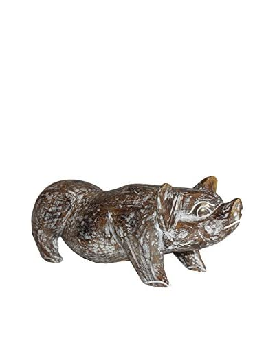 Asian Loft Carved Wooden Pig, Brown/White