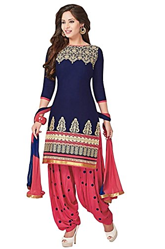blue pink punjabi patiala suit dress material for women_1550