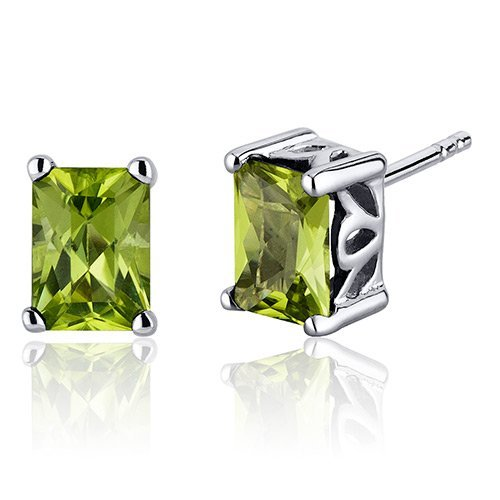 Peora Radiant Cut 2.00 Carats Peridot Stud Earrings in Sterling Silver Rhodium Finish