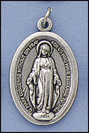 100 Piece Pack, Patron Saints Medals, Miraculous Medal, Italian Oxidized Silver.