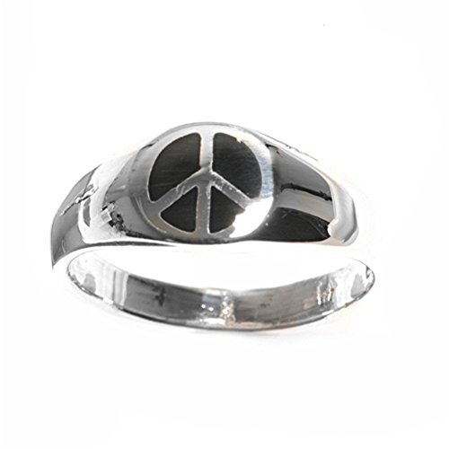 Sterling Silver Woman'S Men'S World Peace Sign Ring Polished Comfort Band 7Mm Size 10 Valentines Day Gift