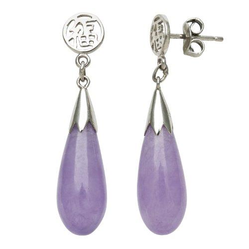 Sterling Silver Polished Lavender Jade Post-back Teardrop Earrings