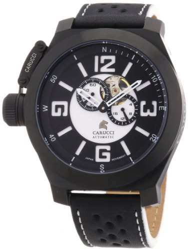 Carucci Watches Men's Automatic Watch CA2175BK-BK with Leather Strap