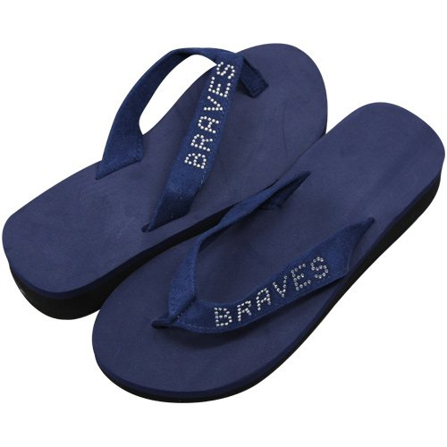 MLB Atlanta Braves Ladies Bling Wedge Flip Flops - Navy Blue (5/6) at Amazon.com