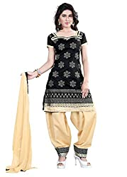 Kimisha Black Chanderi Embroidered Unstitched Dress Material
