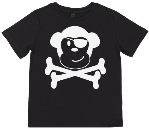 Phunky Buddha - Pirate Monkey Toddler Top 3-4 Yrs - Black front-500266