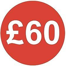Audioprint Lot. 50000Lot de stickers Prix 60£30mm rouge