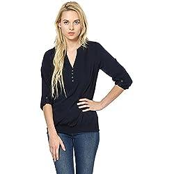 Harpa Women's Body Blouse Shirt (GR2217-Navy_Large)