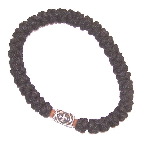 A special silver Crossed bead knotted wool wrist chotki (33 Knots) - with two wooden beads and silver bead with Crosses