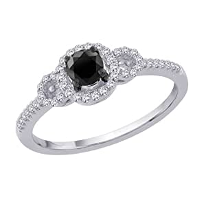 center black and white promise ring in