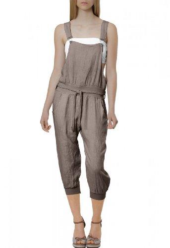 CASPAR Damen leichte Casual Leinen Sommer Hose / Latzhose / Jumpsuit - viele Farben - KHS005, Farbe:khaki;Größe:42 XL UK14 US12