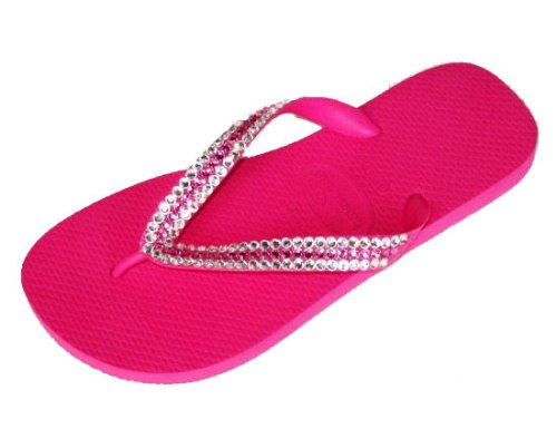 Cheap SHOCK PINK CLEAR ROSE STRIPE Swarovski Crystal Havaianas Flip Flops Sandals Thongs sizes 5-11 (B002H44GFW)