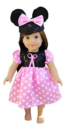 In-Style American Girl Doll Clothes accessories for 18 inch dolls Minnie Mouse dress with Mickey mouse ears hat (minnie mouse pink )