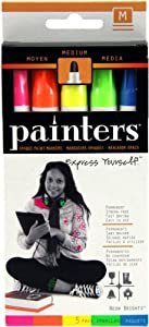 Elmer's Painters Opaque Paint Markers, Set of 5 Markers, Neon Colors, Medium Point (WA7571)
