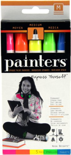Elmer's Painters Opaque Paint Markers, Set of 5 Markers, Neon Colors, Medium Point (WA7571) - 1