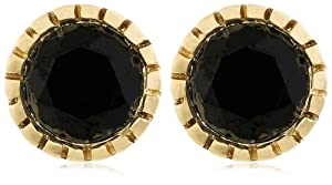 10k Yellow Gold Milgrain Black Diamond Studs (1 cttw)