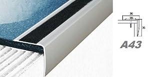 Aluprofile, Stufenleiste Kante Stufe Eckleiste mit Anti-Rutsch-Band 35x35mm, A43, Länge:1.20 Meter;Farbe:Silber