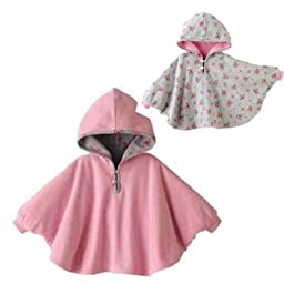 Gaorui Baby Kids Toddler Double-side Wear Hooded Cape Cloak Poncho Coat Hoodie Outwear Romper_Pink-100