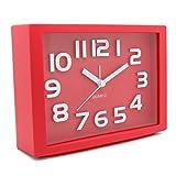 JCC Decorative Colorful Rectangle Quartz Analog Silent non ticking sweep second hands Bedside Desk alarm clock (Red)