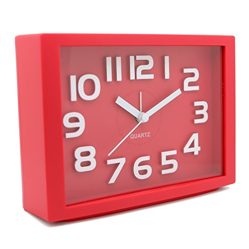 JCC Decorative Colorful Rectangle Quartz Analog Silent non ticking sweep second hands Bedside Desk alarm clock (Red)