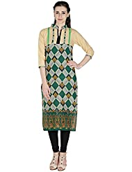 Agroha Women's Cotton Printed Straight Long Kurta