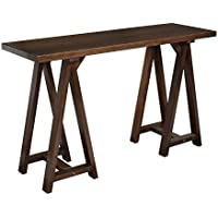 Simpli Home Sawhorse Console Medium Saddle Sofa Table - Brown