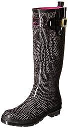 Joules Women\'s Nessie Rain Boot, Black Snake/Black, 8 M US