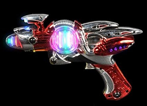 Light- Up Toy Gun - Red Laser Space Gun Blaster Toy -Noise Making -Super Spinning -11 1/2 Inch- For Children, Play Time, Pretend, Parties, Halloween, & Gifts - Kidsco (Noise Gun compare prices)