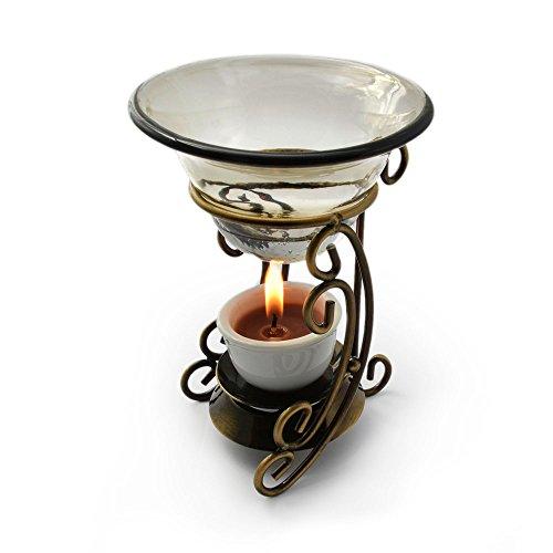 Quemador de esencias, lámpara aromática en resistente de metal/cristal, 2 teilig, aroma grabadora, para aceites esenciales, con cuencos de vidrio - colour