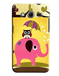 Blue Throat Elephant Carrying Owl On Back Printed Designer Back Cover/Case For Samsung Galaxy Core Prime