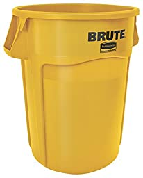 Rubbermaid Commercial FG265500YEL Brute Heavy-Duty Waste/Utility Container (55-gallon, Yellow)