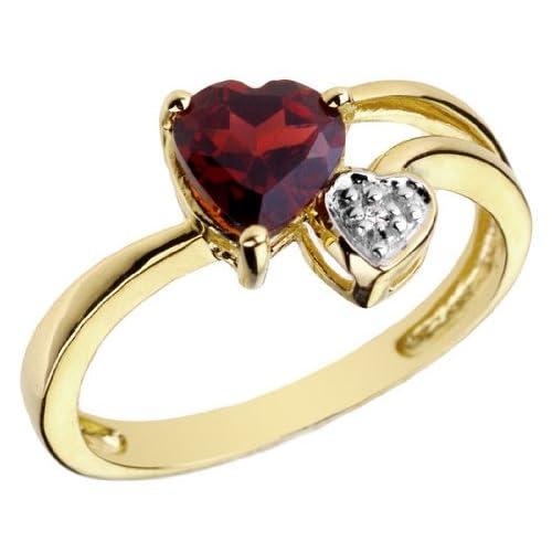 Garnet Gemstone and Diamond Ring in 14K Yellow Gold
