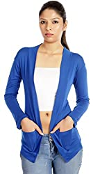 TeeMoods Full Sleeve Cotton Blue Shrug