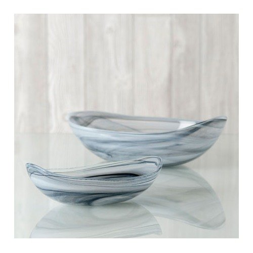 Shiraleah Small Grey Polished Alabaster Oval Bowl