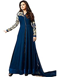 Aryan Fashons BEAUTIFUL BLUE GEORGETTE LONG ANARKALI DRESS For Girls TOP-SEMI-STITCHED , BOTTOM-UNSTITCHED