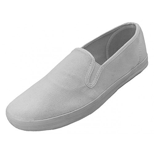 Men's Casual White Slip-On Canvas Shoes. Ideal for 80s/Miami Vice, laid back style. US sizes 7 to 13.