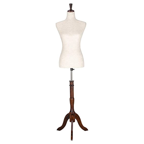Bonnlo Upgraded Female Dress Form, Mannequin Torse Body with Adjustable Rubber Wood Stand for Dress Jewelry Display (2-4) (Tamaño: 2-4)