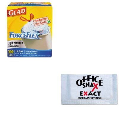 kitcox70427ofx00060-value-kit-office-snax-nutrasweet-blue-sweetener-ofx00060-and-glad-forceflex-tall