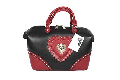 Love Moschino JCH15, Borsa a mano donna Nero Nero/Rosso