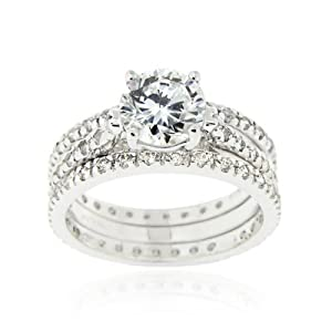 Sterling Silver Round CZ Wedding Engagement Ring Set