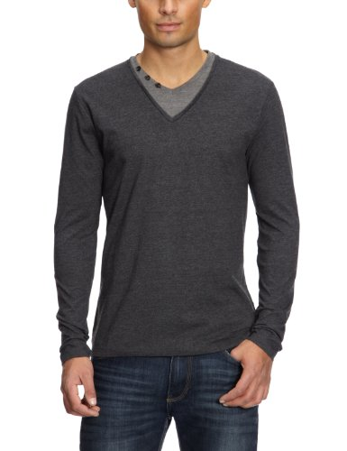 Selected Homme Note Longsleeve Double Layer V-Neck T Men's T-Shirt Antrasit Melange Small