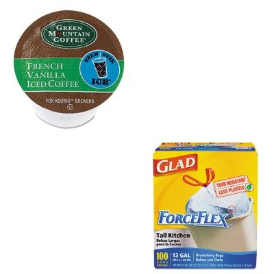 Kitcox70427Gmt6832Ct - Value Kit - Green Mountain Coffee Roasters Brew Over Ice French Vanilla Iced Coffee K-Cups (Gmt6832Ct) And Glad Forceflex Tall-Kitchen Drawstring Bags (Cox70427)