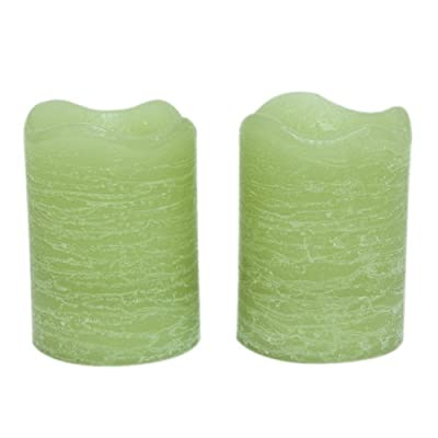 Inglow 2.5-Inch Tall Flameless Rustic Votives Vanilla Cream Scented Candle 2-Pack