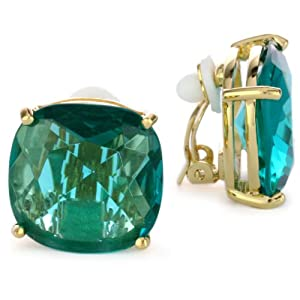 Kate Spade New York Large Faceted Aqua-Color Clip-On Earrings