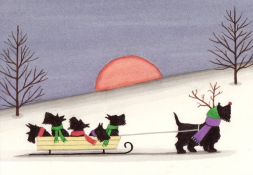 12 Christmas cards: Sled ride  Scottie family